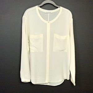 Everlane Button Up Ivory Silk Blouse with Pockets